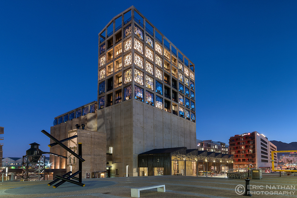 Dusk view of the Zeitz MOCAA (Musuem of Contemporary African Art) and the Silo Hotel building in the Cape Town Waterfront.