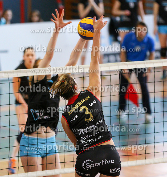 Sarha Julie Ammerman of Nova KBM Branik during volleyball game between Calcit Kamnik and Nova KBM Branik in 4th leg of Finals of Slovenian National Championship 2015, on April 14, 2015 in Sportna dvorana, Kamnik, Slovenia. Photo by Matic Klansek Velej / Sportida