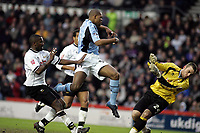 Fotball<br /> FA-cup 2005<br /> Derby v Fulham<br /> 29. januar 2005<br /> Foto: Digitalsport<br /> NORWAY ONLY<br /> Collins John scores to bring Fulham equal.