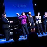 """March 9, 2013 - New York, NY : Pianist Anthony De Mare, third from left, applauds as he and some of the composers whose works were performed, take a bow after """"Liaisons II: Re-Imagining Sondheim From the Piano,"""" a series of Stephen Sondheim-inspired piano works, at Symphony Space in Manhattan on Saturday night. CREDIT: Karsten Moran for The New York Times"""