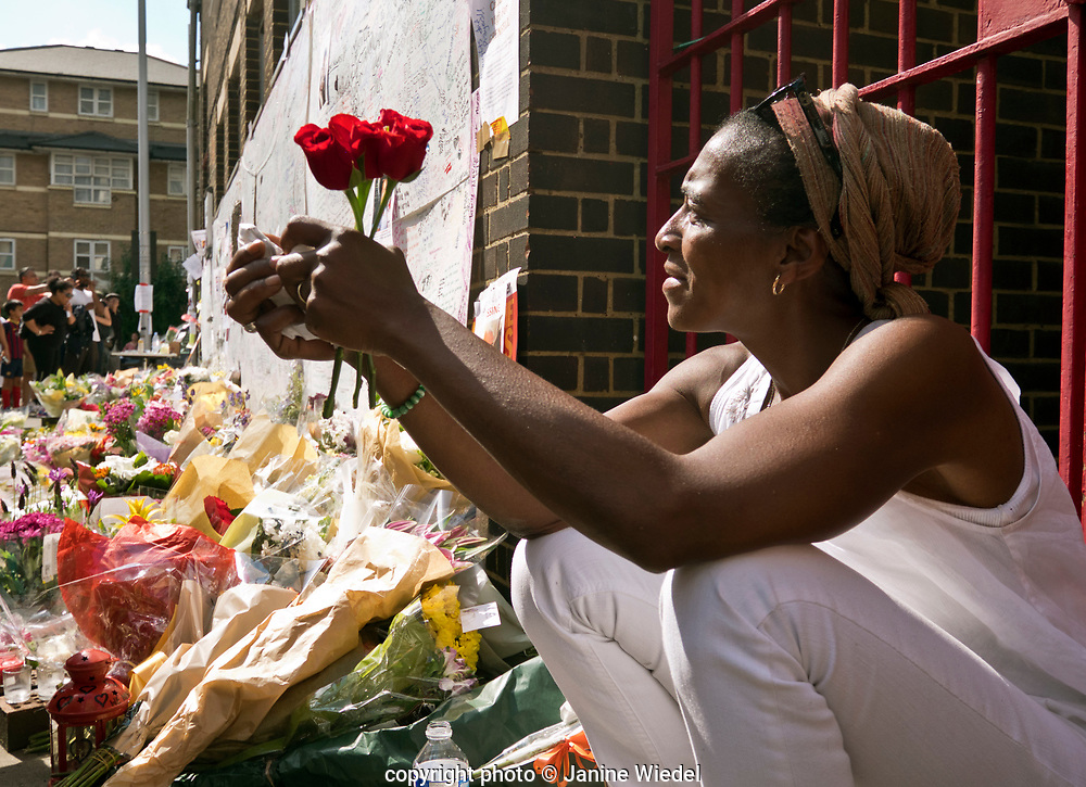 Maria Mendy , the cousin of  Mary Mendy and her daughter Khadya who were both killed the fire that destroyed the 24-story Grenfell Tower in North Kensington, London on 14th June 2017.  The death toll officially at 75 but will no doubt rise to three figures.