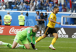 July 14, 2018 - Saint Petersbourg, Russie - SAINT PETERSBURG, RUSSIA - JULY 14 : Jordan Pickford goalkeeper of England & Eden Hazard midfielder of Belgium during the FIFA 2018 World Cup Russia Play-off for third place match between Belgium and England at the Saint Petersburg Stadium on July 14, 2018 in Saint Petersburg, Russia, 14/07/18 (Credit Image: © Panoramic via ZUMA Press)