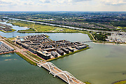 Nederland, Noord-Holland, Amsterdam, 14-06-2012; Steigereiland, IJburg met rechtsboven Diemen, beneden Enneüs Heermabrug. .New constructed urban development, residential district IJburg and the Enneus Heermabrug (bridge, bottom pic)...luchtfoto (toeslag), aerial photo (additional fee required).foto/photo Siebe Swart