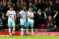 Michail Antonio of West Ham United celebrates after scoring his sides second goal - Mandatory by-line: Matt McNulty/JMP - 11/12/2016 - FOOTBALL - Anfield - Liverpool, England - Liverpool v West Ham United - Premier League