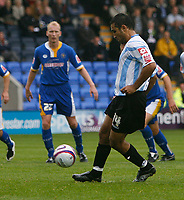 Photo: Steve Bond.<br /> Shrewsbury Town v Chesterfield. Coca Cola League 2. 13/10/2007. Jack Lester scores with a chip from the penalty spot
