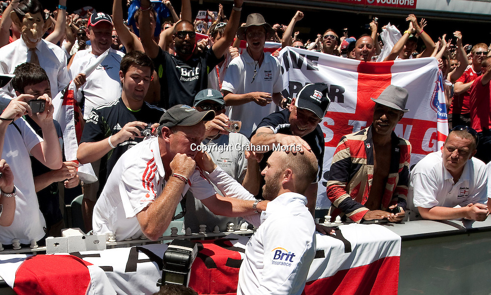 Matt Prior with his father (clenched fist) after winning the fourth Ashes test match between Australia and England at the MCG in Melbourne, Australia. Photo: Graham Morris (Tel: +44(0)20 8969 4192 Email: sales@cricketpix.com) 29/12/10