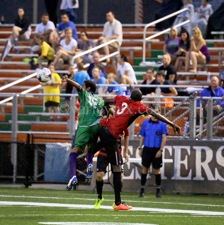 24 June 2015. New Orleans, Louisiana.<br /> National Premier Soccer League. NPSL. <br /> Jesters 0 - Atlanta Silverbacks 1.<br /> The New Orleans Jesters lose 0-1 to the Atlanta Silverbacks in a lightning delayed game at home in the Pan American Stadium. <br /> Photo&copy;; Charlie Varley/varleypix.com