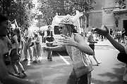 Ravers dancing in the street,during the 2nd Criminal Justice March, Victoria, London, UK, 23rd of July 1994.