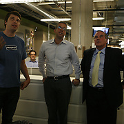 Mayor Richard Daley, right, gets a tour of Groupon's headquarters by founder and CEO Andrew Mason, left, Tuesday August 31, 2010. Groupon's headquarters are in the former Montgomery Wards' catalog warehouse.  Jose More Photography...