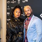 NLD/Amsterdam/20191114 - Uitreiking Esquires Best Geklede Man 2019,<br /> Pete Philly met zijn partner Latoya