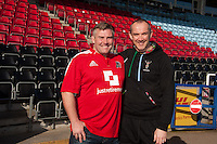 Former England Legend Jason Leonard visits his old club Harlequins to see how the Captains Run has changed since his day. Pictured here with Quins' Conor O'Shea