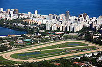aerial view of the race track of lagoa and leblon in rio de janeiro brazil