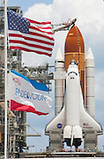 Cape Canaveral, Florida US - Space shuttle Endeavour sits on Pad 39A after the Rotating Service Strutc