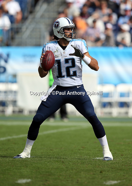 Tennessee Titans quarterback Charlie Whitehurst (12) throws a pass during the NFL week 6 regular season football game against the Jacksonville Jaguars on Sunday, Oct. 12, 2014 in Nashville, Tenn. The Titans won the game 16-14. ©Paul Anthony Spinelli
