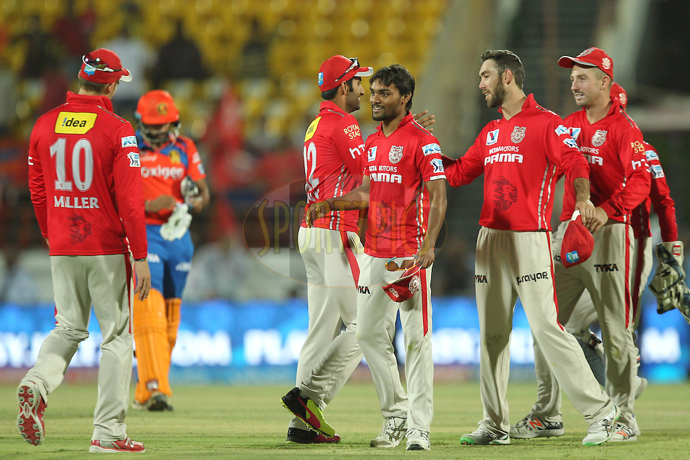 Sandeep sharma and Glen Maxwell of  Kings XI Punjab celebrates win during match 28 of the Vivo IPL 2016 ( Indian Premier League ) between the Gujarat Lions and the Kings XI Punjab held at Saurashtra Cricket Association Stadium, Rajkot, India on the 1st May 2016Photo by Prashant Bhoot / IPL/ SPORTZPICS