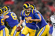 LA Rams Quarterback Jared Goff (16) in action during the International Series match between Los Angeles Rams and Cincinnati Bengals at Wembley Stadium, London, England on 27 October 2019.