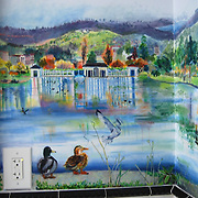 two ducks, seagulls landing and cormorants featured in a view of Lake Merritt in Oakland. Acrylic painting on wallboard, commissioned by Dick and Linda Burnett