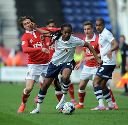 Bristol City's Luke Freeman jostles for the ball with Preston North End's Daniel Johnson - Photo mandatory by-line: Dougie Allward/JMP - Mobile: 07966 386802 - 11/04/2015 - SPORT - Football - Preston - Deepdale - Preston North End v Bristol City - Sky Bet League One