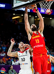 Daniel Theis of Germany vs Marc Gasol of Spain during basketball match between National Teams of Germany and Spain at Day 13 in Round of 16 of the FIBA EuroBasket 2017 at Sinan Erdem Dome in Istanbul, Turkey on September 12, 2017. Photo by Vid Ponikvar / Sportida