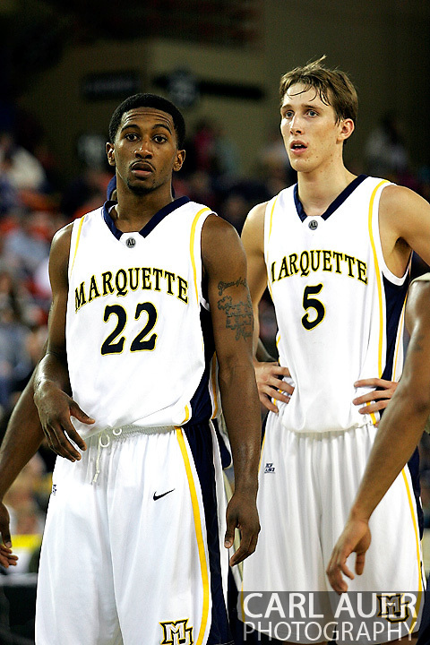 25 November 2005: Marquette Golden Eagle freshman guard Jerel McNeal (22) and sophomore forward Dan Fitzgerald in the Marquette University 73-70 victory over Oral Roberts University at the Great Alaska Shootout in Anchorage, Alaska