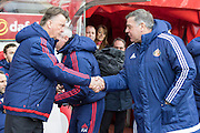 Manchester United's Manager Louis van Gaal and Sunderland's Manager Sam Allardyce greet before the Barclays Premier League match between Sunderland and Manchester United at the Stadium Of Light, Sunderland, England on 13 February 2016. Photo by George Ledger.