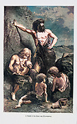 Machine colourized image of a family in the stone age according to the French illustrator Emile Bayard (1837-1891), illustration Artwork published in Primitive Man by Louis Figuier (1819-1894), Published in London by Chapman and Hall 193 Piccadilly in 1870