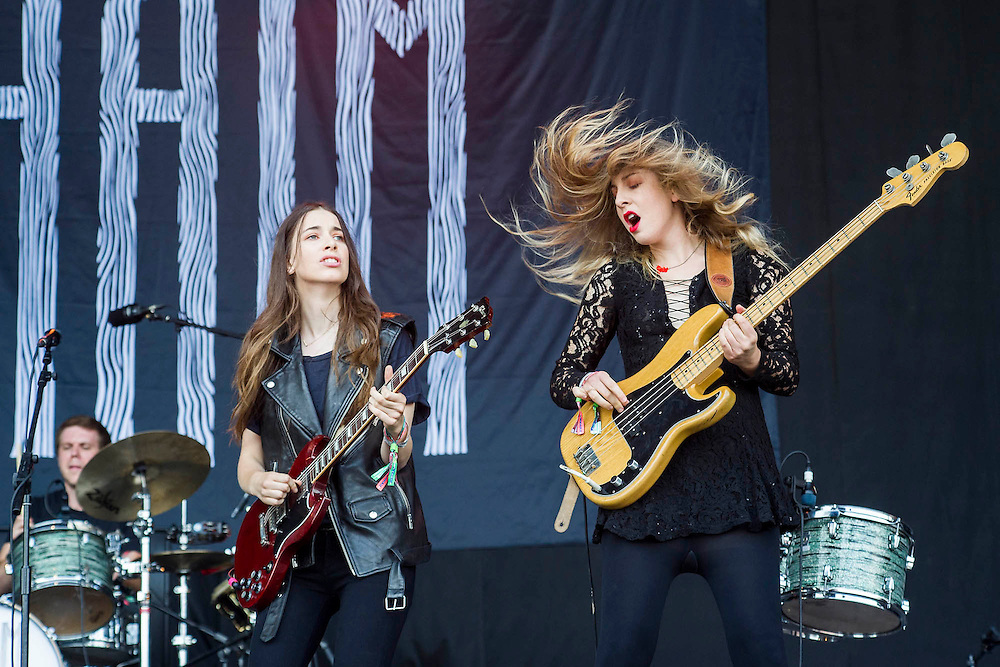 Haim perform on the Pyramid Stage. The 2013 Glastonbury Festival, Worthy Farm, Glastonbury. 28 June 2013.   © Guy Bell, guy@gbphotos.com, all rights reserved