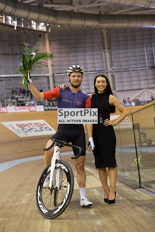 Owain Doull (Team Wiggins) receives his flowers after winning the Elite Championship - Points Race - Men. Revolution 55 Track Cycling Glasgow, 28th November 2015