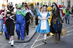 © Licensed to London News Pictures. 08/04/2017. London, UK. People dressed in iconic games characters march in the city of London at a first-of-its-kind games event, The London Games Festival Games Character Parade on Saturday, 8 April 2017. Photo credit: Tolga Akmen/LNP