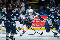 KELOWNA, CANADA - APRIL 26: Nick Merkley #10 of the Kelowna Rockets skates against the Seattle Thunderbirds on April 26, 2017 at Prospera Place in Kelowna, British Columbia, Canada.  (Photo by Marissa Baecker/Shoot the Breeze)  *** Local Caption ***