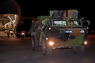 "UK PROVIDES LOGISTICAL AID TO FRENCH MALI OPERATION.Royal Air Force C-17 strategic transport aircrafts transport armoured vehicles and other military equipment to the Malian capital Bamako. .French forces are assisting the Government of Mali to contain rebel and extremist groups in the North of the country_16/01/2013.Picture Shows: A French VÈhicule de l'Avant BlindÈ (VAB) armoured vehicle being unloaded from a UK C17, which landed at Bamako airport, Mali in support of Operation NEWCOMBE..Mandatory Credit Photo: ©Traylor/NEWSPIX INTERNATIONAL..**ALL FEES PAYABLE TO: ""NEWSPIX INTERNATIONAL""**..IMMEDIATE CONFIRMATION OF USAGE REQUIRED:.Newspix International, 31 Chinnery Hill, Bishop's Stortford, ENGLAND CM23 3PS.Tel:+441279 324672  ; Fax: +441279656877.Mobile:  07775681153.e-mail: info@newspixinternational.co.uk"
