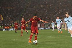April 15, 2018 - Rome, Lazio, Italy - Federico Fazio try to shoot on target.at Stadio Olimpico of Roma. Lazio and Roma tied for 0-0 the ''derby della Capitale'' of Italian Serie A. (Credit Image: © Paolo Pizzi/Pacific Press via ZUMA Wire)