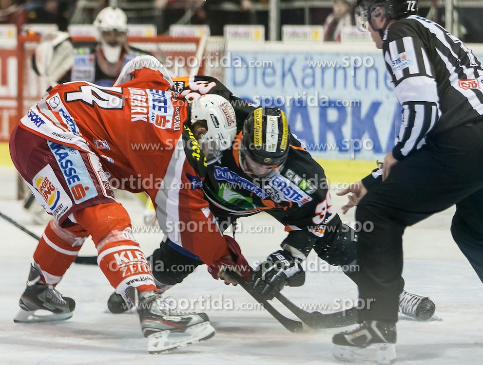 05.03.2013, Stadthalle, Klagenfurt, AUT, EBEL, EC KAC vs Graz 99ers, playoff best of seven, 5. Runde, im Bild Jamie Lundmark (Kac, #74), Trevor Frishmon (Graz 99ers, #39) // during the Erste Bank  Icehockey League playoff best of seven 5th round match between EC KAC and Graz 99ers at the City Hall, Klagenfurt, Austria on 2013/03/05. EXPA Pictures © 2013, PhotoCredit: EXPA/ Mag. Gert Steinthaler