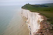 Beachy Head lighthouse and chalk cliffs, East Sussex view to Belle Toute lighthouse