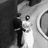 The bride and groom on their wedding day in Parc del Laberint, Horta, Barcelona, Spain.