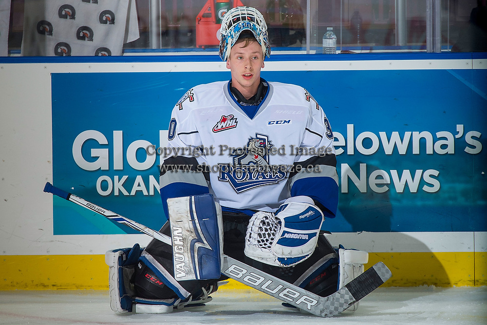 KELOWNA, CANADA - OCTOBER 4: Griffen Outhouse #30 of the Victoria Royals stretches on the ice during warm up against the Victoria Royals on October 4, 2017 at Prospera Place in Kelowna, British Columbia, Canada.  (Photo by Marissa Baecker/Shoot the Breeze)  *** Local Caption ***