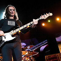 RUSH play live at the SECC..Lead vocalist Geddy Lee.
