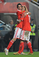 20091217: LISBON, PORTUGAL - SL Benfica vs AEK Athens: Europa League 2009/2010 - Group Stage. In picture: Angel Di Maria and Carlos Martins (Benfica) celebrating goal. PHOTO: Alvaro Isidoro/CITYFILES