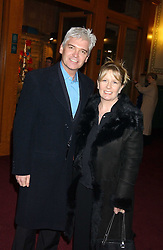 TV presenter PHILIP SCHOFIELD and his wife STEPHANIE  at the press night of Cirque Du Soleil's 'Alegria' held at the Royal Albert, London on 5th January 2006.<br />