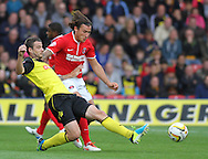 Picture by David Horn/Focus Images Ltd +44 7545 970036<br /> 14/09/2013<br /> Daniel Pudil of Watford and Lawrie Wilson of Charlton Athletic during the Sky Bet Championship match at Vicarage Road, Watford.