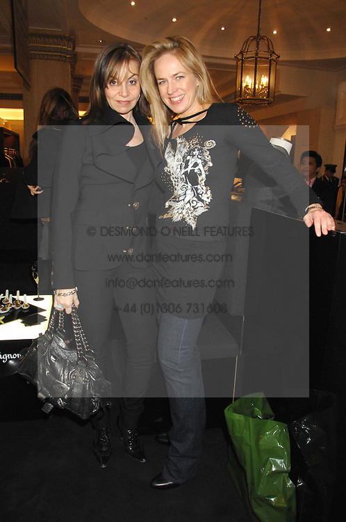 Left to right, CAROLE SILLER and SHARON SWART at a party to celebrate the 5th anniversary of Grand Classics held at the Dom Perignon OEnotheque Bar at Harrods, Knightsbridge, London on 14th February 2008.<br />