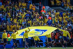 Bandeira da FIFA na partida entre Brasil x Chile, válida pelas oitavas de final da Copa do Mundo 2014, no Estádio Mineirão, em Belo Horizonte. FOTO: Jefferson Bernardes/ Agência Preview