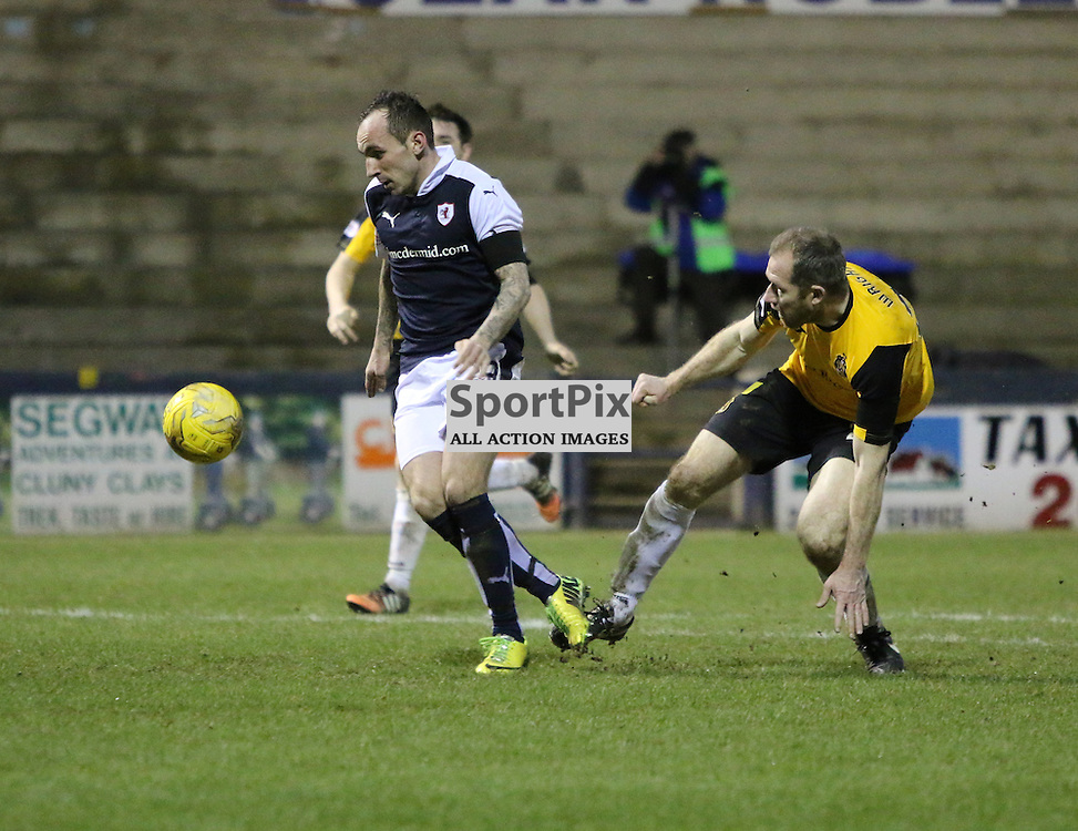 Stewart is in on goal during the Raith Rovers v Dumbarton  Scottish Championship 23 January 2016<br /> <br /> (c) Andy Scott | SportPix.org.uk