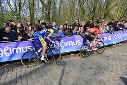 Soren Kragh Andersen (DEN) Team Sunweb and Dries Van Gestel (BEL) Sport Vlaanderen-Baloise on the 2nd ascent of the Kemmelberg during the 2019 Gent-Wevelgem in Flanders Fields running 252km from Deinze to Wevelgem, Belgium. 31st March 2019.<br /> Picture: Eoin Clarke | Cyclefile<br /> <br /> All photos usage must carry mandatory copyright credit (&copy; Cyclefile | Eoin Clarke)