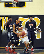 Willingboro's Greg Thurman #4 battles for a loose ball with Bordertown's Dante Gipson in the first quarter of the Willingboro vs Bordentown Central Jersey Group 3 boys basketball semifinal at Bordertown High School Saturday March 5, 2016 in Bordentown, New Jersey.  (Photo by William Thomas Cain)