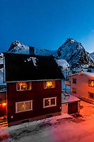 Houses in Svolvaer, Lofoten Islands, Arctic, Northern Norway seen predawn.