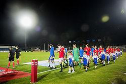 October 5, 2017 - San Marino, SAN MARINO - 171005 The two teams from San Marino and Norway arrive the field ahead of the FIFA World Cup Qualifier match between San Marino and Norway on October 5, 2017 in San Marino. .Photo: Fredrik Varfjell / BILDBYRÃ…N / kod FV / 150027 (Credit Image: © Fredrik Varfjell/Bildbyran via ZUMA Wire)