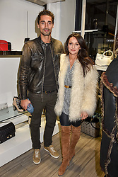 Hugo Taylor and Roxie Nafousi at a party to launch Ashley Robert's new footwear range Allyn held ay Larizia, 74 St.John's Wood High Street, London England. 8 February 2017.