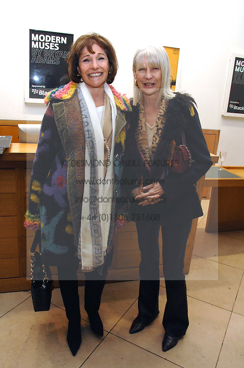 Left to right, BONNIE MORRIS and GRETA MORRISON at a private view of Bryan Adam's photographs entitled 'Modern Muses' held at The National Portrait Gallery, London on 11th March 2008.<br />