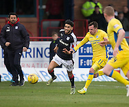 Dundee&rsquo;s Faissal El Bakhtaoui races past St Johnstone&rsquo;s Danny Swanson - Dundee v St Johnstone in the Ladbrokes Scottish Premiership at Dens Park, Dundee - Photo: David Young, <br /> <br />  - &copy; David Young - www.davidyoungphoto.co.uk - email: davidyoungphoto@gmail.com